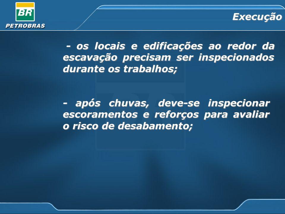 - os locais e edificações ao redor da escavação precisam ser inspecionados durante os trabalhos; - os locais e edificações ao redor da escavação preci