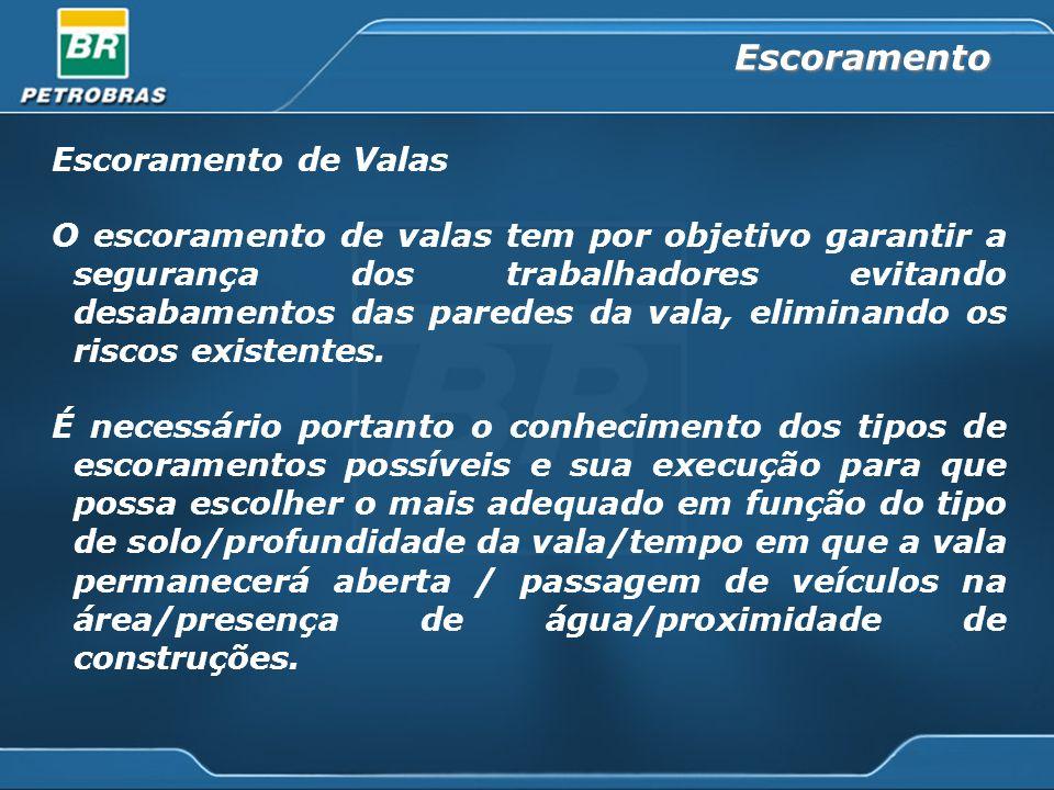 Escoramento de Valas O escoramento de valas tem por objetivo garantir a segurança dos trabalhadores evitando desabamentos das paredes da vala, eliminando os riscos existentes.