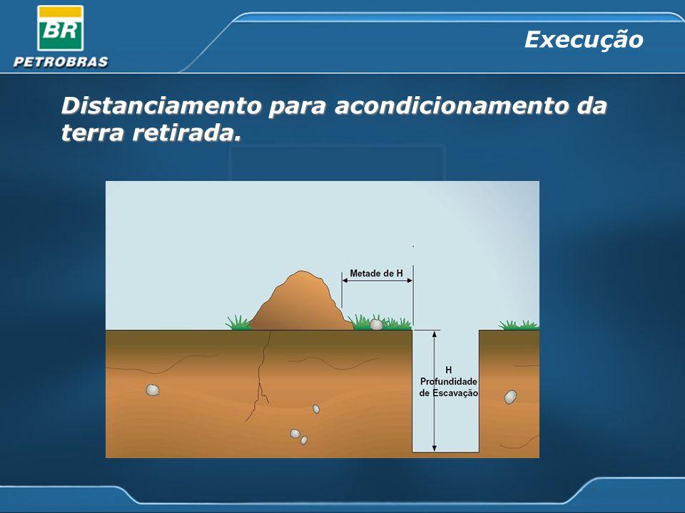 Distanciamento para acondicionamento da terra retirada. Execução