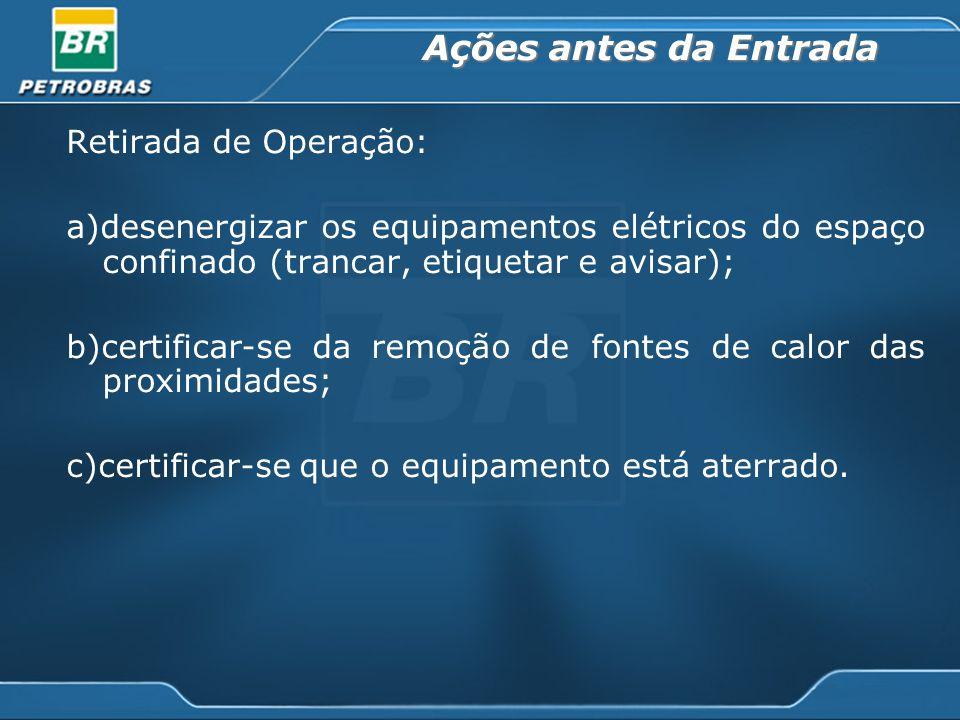 Ações antes da Entrada Retirada de Operação: a)desenergizar os equipamentos elétricos do espaço confinado (trancar, etiquetar e avisar); b)certificar-se da remoção de fontes de calor das proximidades; c)certificar-se que o equipamento está aterrado.