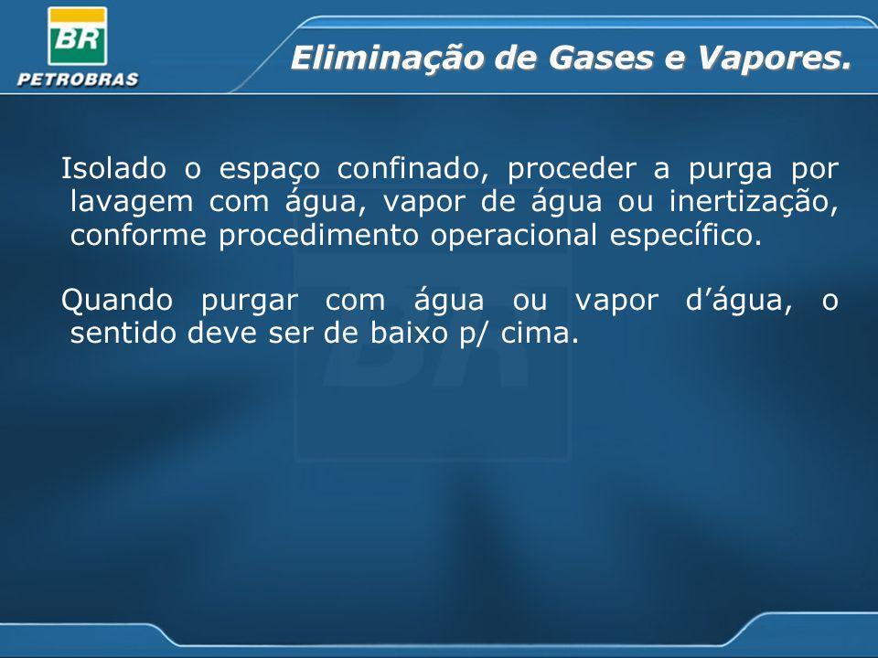 Eliminação de Gases e Vapores. Isolado o espaço confinado, proceder a purga por lavagem com água, vapor de água ou inertização, conforme procedimento