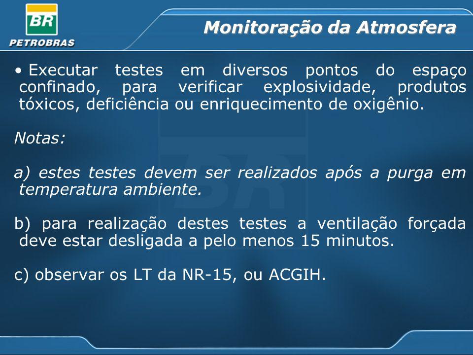 Monitoração da Atmosfera Executar testes em diversos pontos do espaço confinado, para verificar explosividade, produtos tóxicos, deficiência ou enriquecimento de oxigênio.