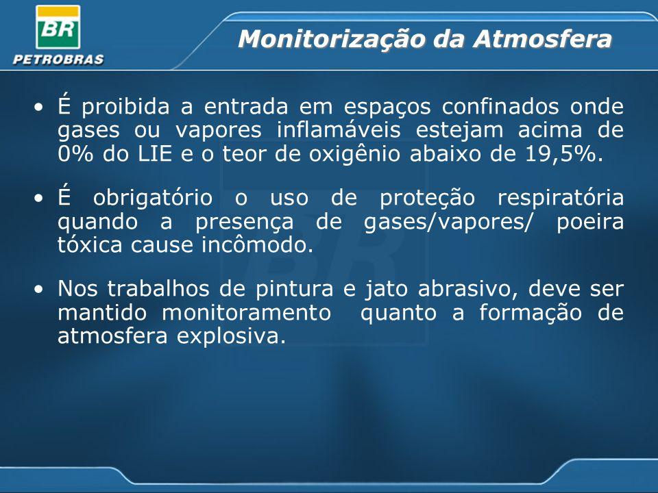 Monitorização da Atmosfera É proibida a entrada em espaços confinados onde gases ou vapores inflamáveis estejam acima de 0% do LIE e o teor de oxigênio abaixo de 19,5%.