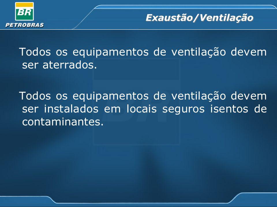 Exaustão/Ventilação Todos os equipamentos de ventilação devem ser aterrados. Todos os equipamentos de ventilação devem ser instalados em locais seguro