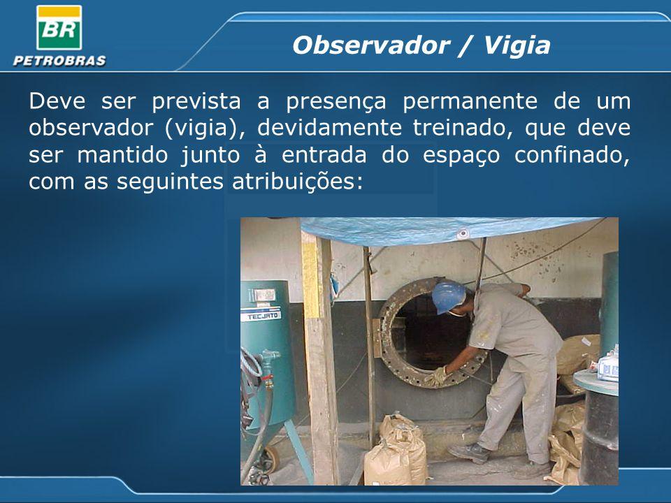 Deve ser prevista a presença permanente de um observador (vigia), devidamente treinado, que deve ser mantido junto à entrada do espaço confinado, com as seguintes atribuições: Observador / Vigia