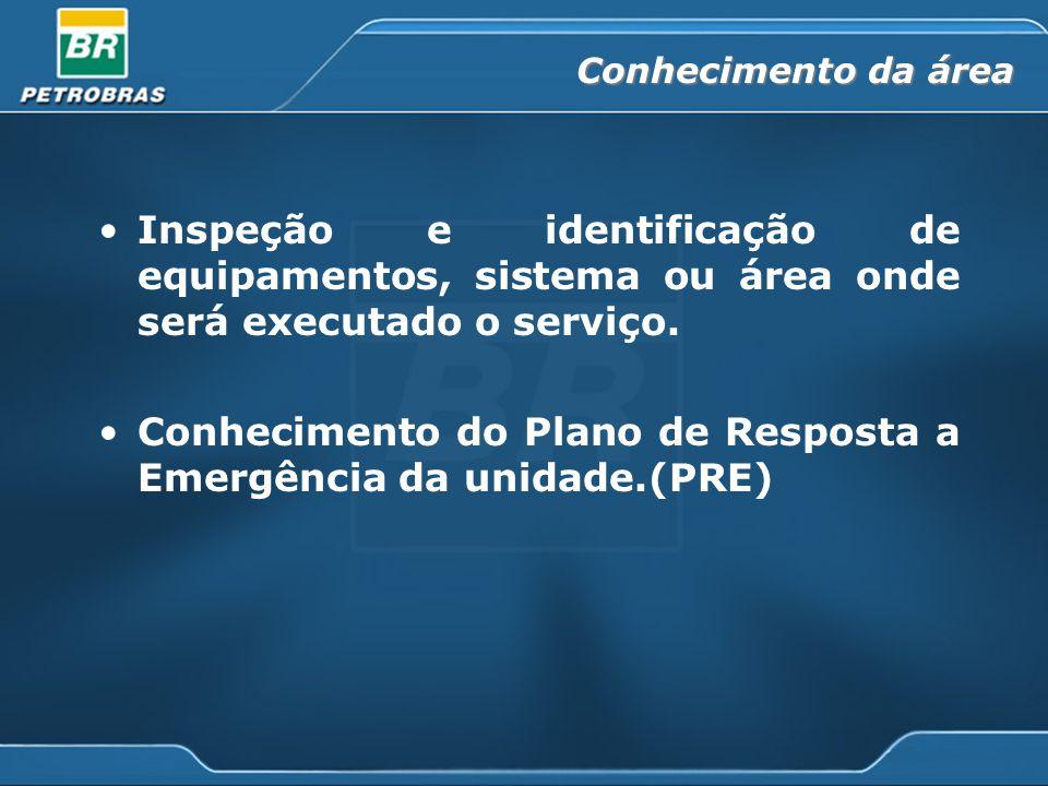 Conhecimento da área Inspeção e identificação de equipamentos, sistema ou área onde será executado o serviço. Conhecimento do Plano de Resposta a Emer
