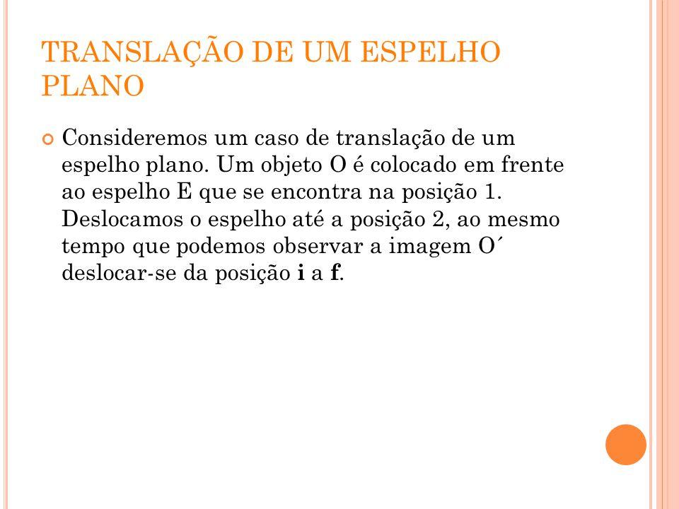 TRANSLAÇÃO DE UM ESPELHO PLANO Consideremos um caso de translação de um espelho plano. Um objeto O é colocado em frente ao espelho E que se encontra n