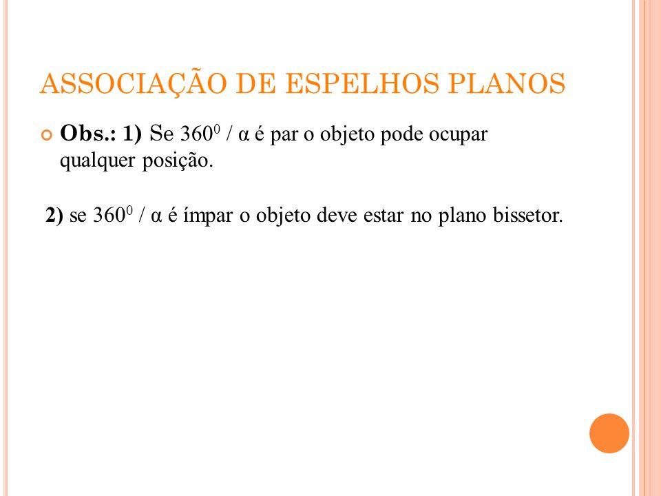 ASSOCIAÇÃO DE ESPELHOS PLANOS Obs.: 1) Se 360 0 / α é par o objeto pode ocupar qualquer posição. 2) se 360 0 / α é ímpar o objeto deve estar no plano