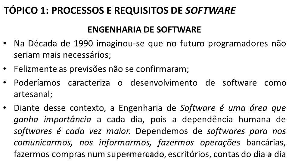 TÓPICO 1: PROCESSOS E REQUISITOS DE SOFTWARE ENGENHARIA DE SOFTWARE Na Década de 1990 imaginou-se que no futuro programadores não seriam mais necessár