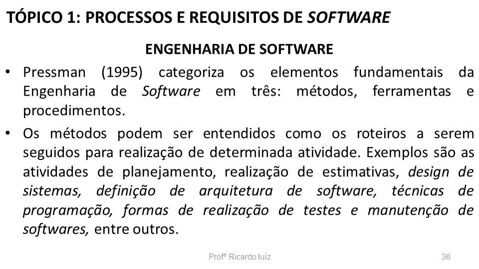 TÓPICO 1: PROCESSOS E REQUISITOS DE SOFTWARE ENGENHARIA DE SOFTWARE Pressman (1995) categoriza os elementos fundamentais da Engenharia de Software em