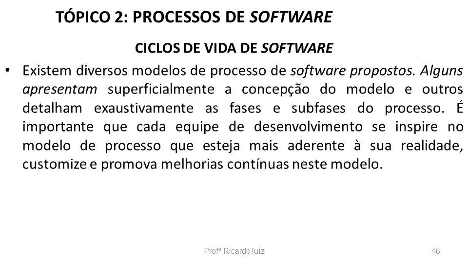 TÓPICO 2: PROCESSOS DE SOFTWARE CICLOS DE VIDA DE SOFTWARE Existem diversos modelos de processo de software propostos. Alguns apresentam superficialme
