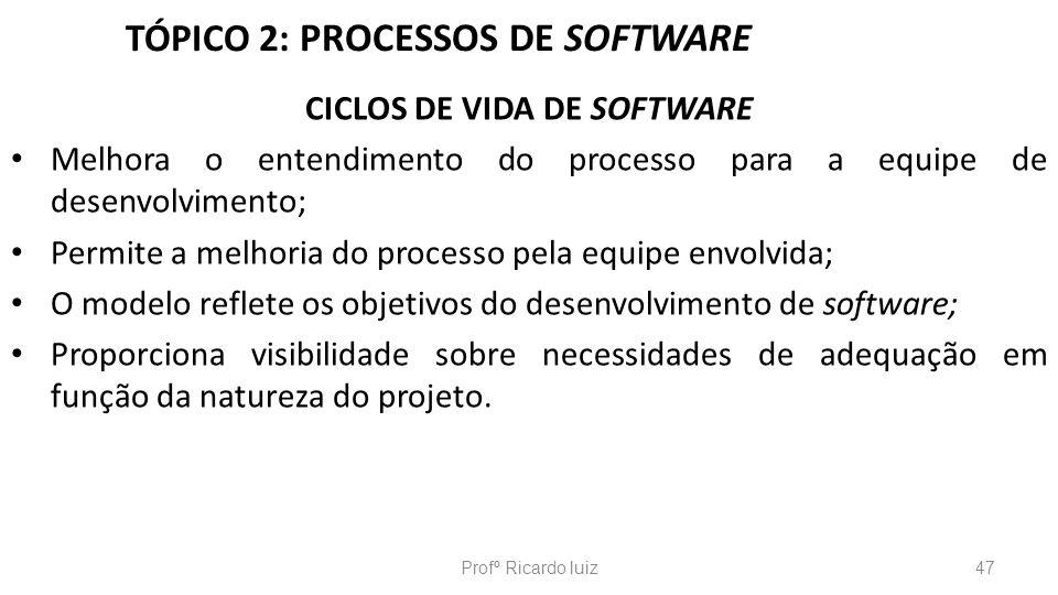 TÓPICO 2: PROCESSOS DE SOFTWARE CICLOS DE VIDA DE SOFTWARE Melhora o entendimento do processo para a equipe de desenvolvimento; Permite a melhoria do