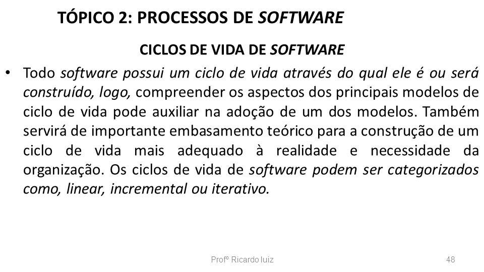 TÓPICO 2: PROCESSOS DE SOFTWARE CICLOS DE VIDA DE SOFTWARE Todo software possui um ciclo de vida através do qual ele é ou será construído, logo, compr