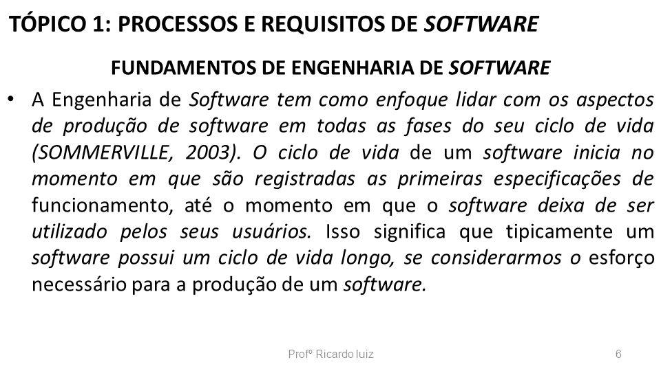 TÓPICO 1: PROCESSOS E REQUISITOS DE SOFTWARE FUNDAMENTOS DE ENGENHARIA DE SOFTWARE A Engenharia de Software tem como enfoque lidar com os aspectos de