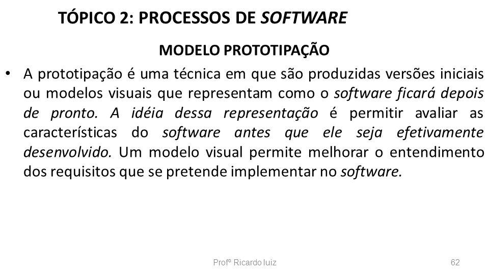 TÓPICO 2: PROCESSOS DE SOFTWARE MODELO PROTOTIPAÇÃO A prototipação é uma técnica em que são produzidas versões iniciais ou modelos visuais que represe