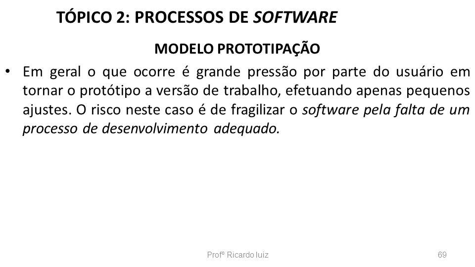 TÓPICO 2: PROCESSOS DE SOFTWARE MODELO PROTOTIPAÇÃO Em geral o que ocorre é grande pressão por parte do usuário em tornar o protótipo a versão de trab