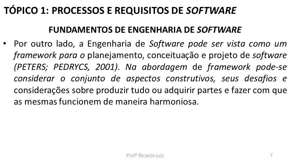 TÓPICO 1: PROCESSOS E REQUISITOS DE SOFTWARE ENGENHARIA DE SOFTWARE Na década de 1990 iniciou o paradigma de orientado a objetos.