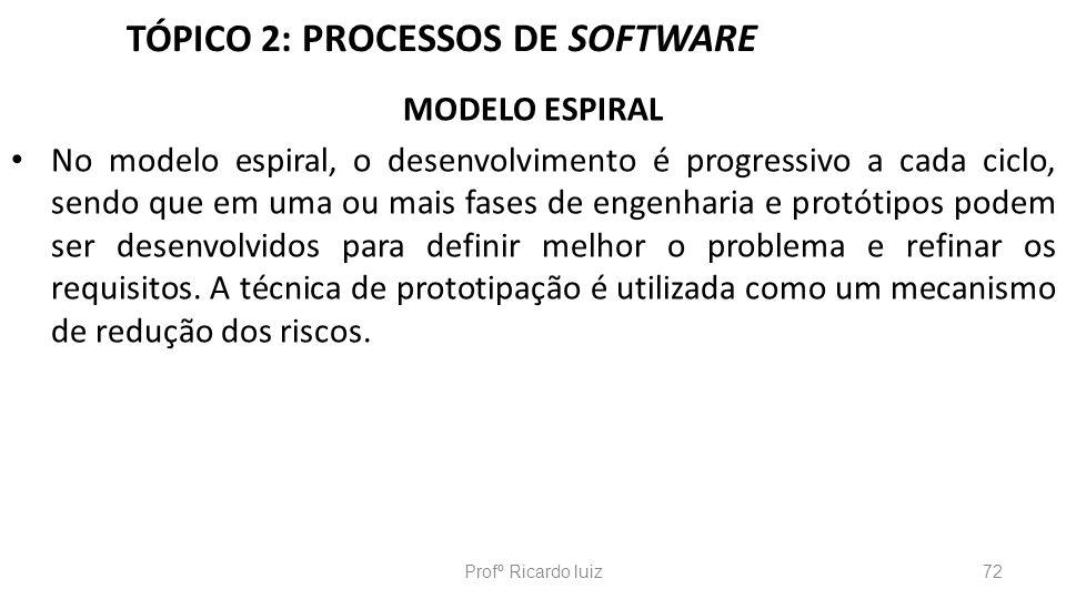 TÓPICO 2: PROCESSOS DE SOFTWARE MODELO ESPIRAL No modelo espiral, o desenvolvimento é progressivo a cada ciclo, sendo que em uma ou mais fases de enge