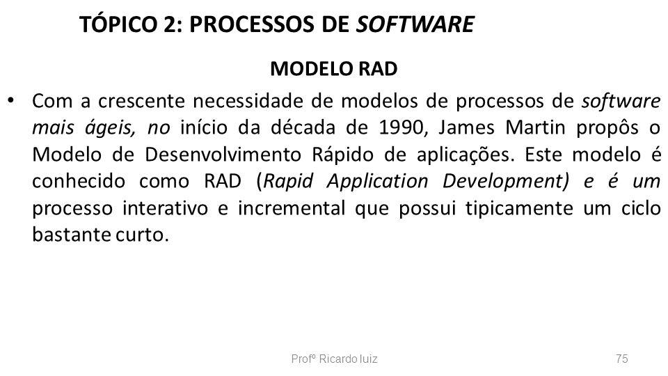 TÓPICO 2: PROCESSOS DE SOFTWARE MODELO RAD Com a crescente necessidade de modelos de processos de software mais ágeis, no início da década de 1990, Ja