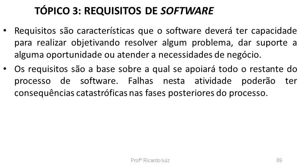 TÓPICO 3: REQUISITOS DE SOFTWARE Requisitos são características que o software deverá ter capacidade para realizar objetivando resolver algum problema