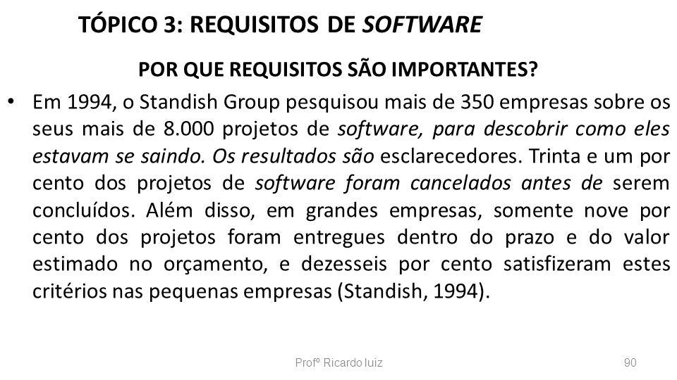 TÓPICO 3: REQUISITOS DE SOFTWARE POR QUE REQUISITOS SÃO IMPORTANTES? Em 1994, o Standish Group pesquisou mais de 350 empresas sobre os seus mais de 8.
