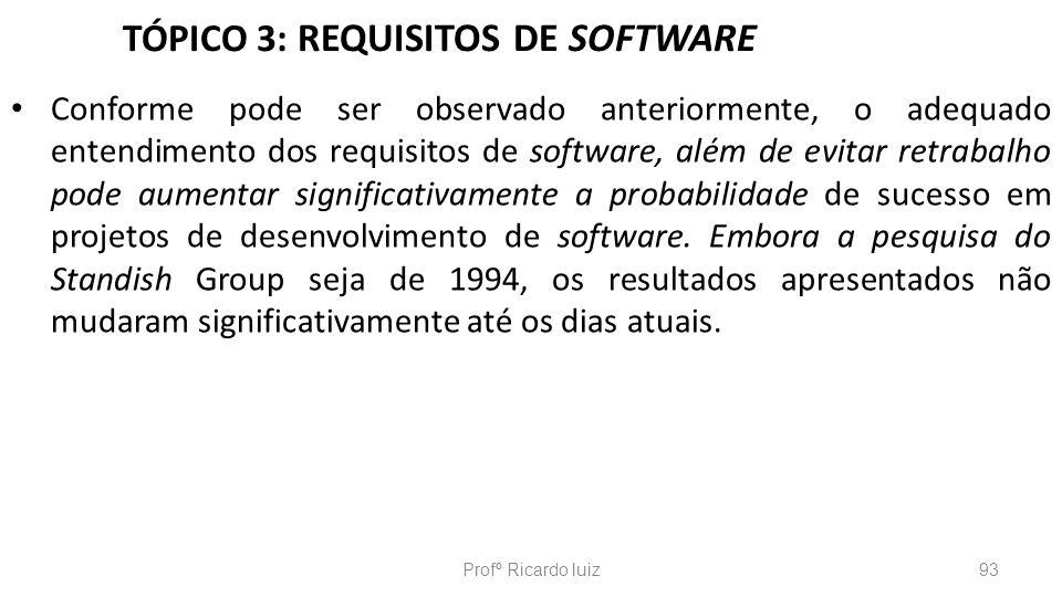 TÓPICO 3: REQUISITOS DE SOFTWARE Conforme pode ser observado anteriormente, o adequado entendimento dos requisitos de software, além de evitar retraba