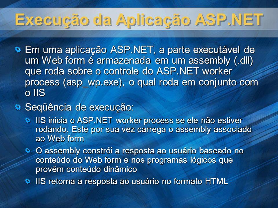 Execução da Aplicação ASP.NET Em uma aplicação ASP.NET, a parte executável de um Web form é armazenada em um assembly (.dll) que roda sobre o controle