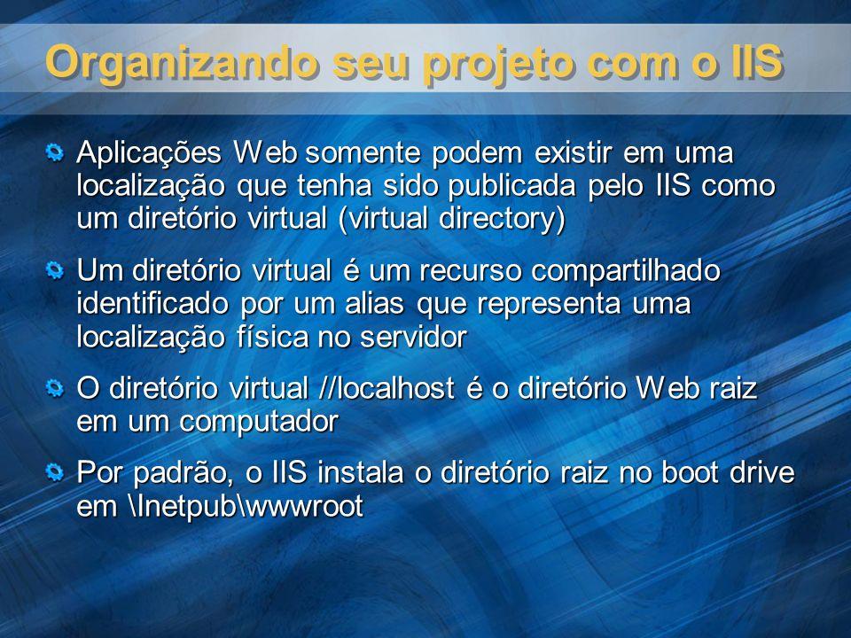 Organizando seu projeto com o IIS Aplicações Web somente podem existir em uma localização que tenha sido publicada pelo IIS como um diretório virtual