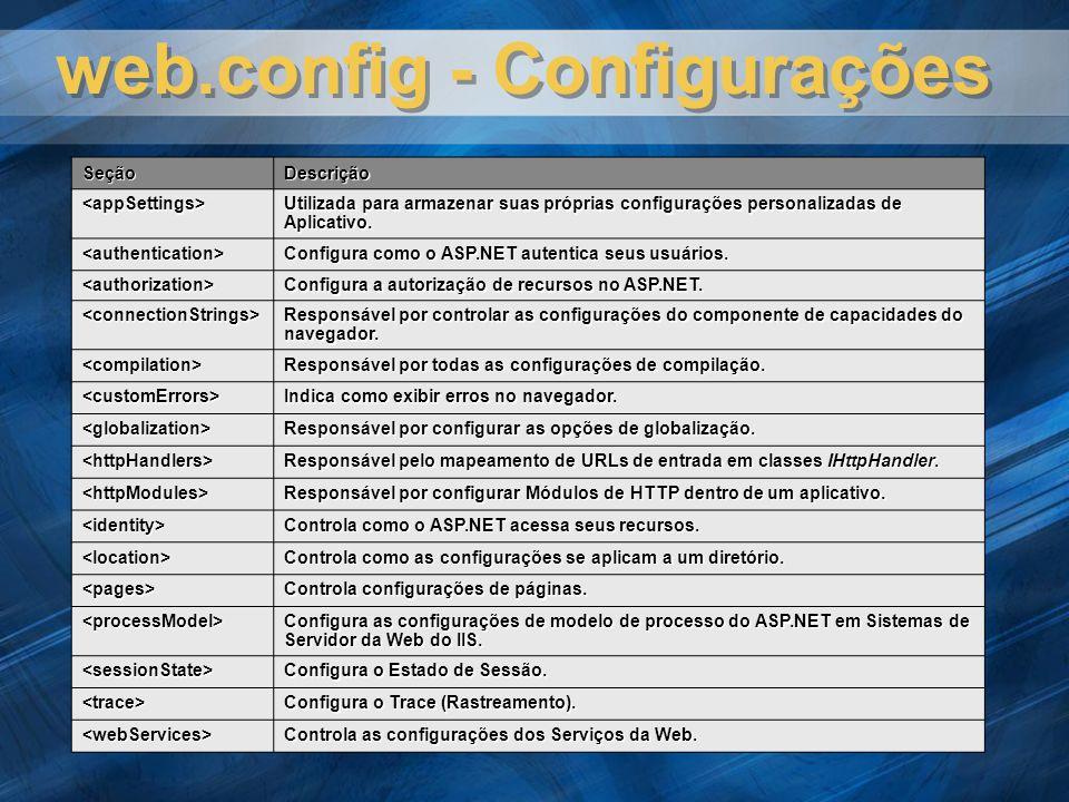 web.config - Configurações SeçãoDescrição <appSettings> Utilizada para armazenar suas próprias configurações personalizadas de Aplicativo. <authentica