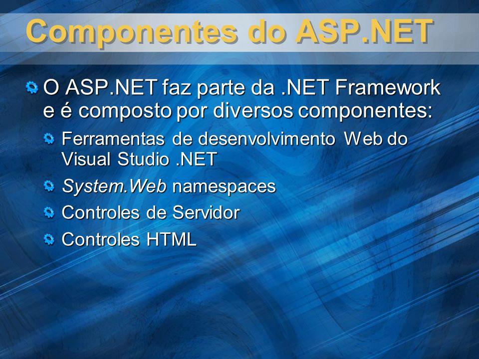 Elementos chaves – ASP.NET Microsoft Internet Information Services (IIS) Linguagens de programação Microsoft Visual Basic.NET Microsoft Visual C# Microsoft Visual J#.NET Framework Microsoft ADO.NET Microsoft Application Center Test (ACT)