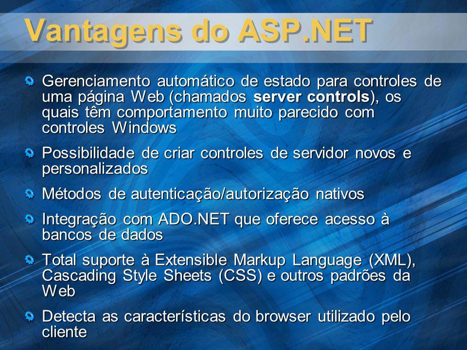 Vantagens do ASP.NET Gerenciamento automático de estado para controles de uma página Web (chamados server controls), os quais têm comportamento muito