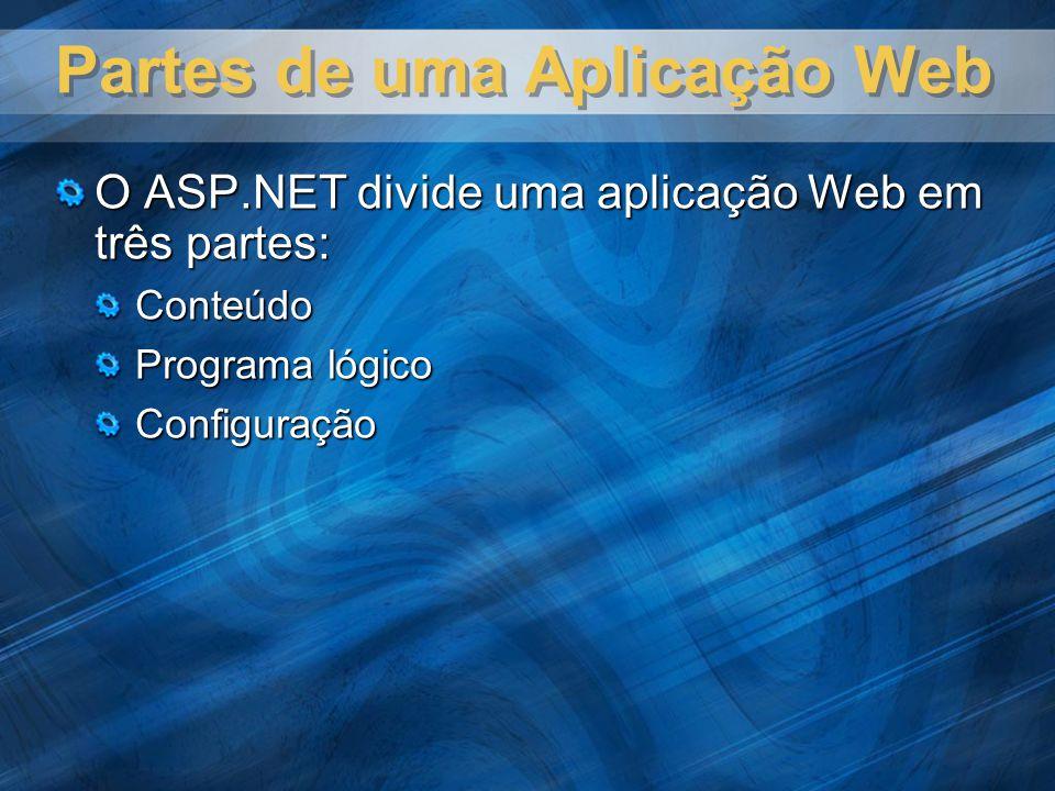 Partes da Aplicação ASP.NET Parte Tipos de arquivos Descrição Conteúdo Web forms, HTML, imagens, áudio, vídeo e outros Arquivos de conteúdo determinam a aparência de uma aplicação Web.
