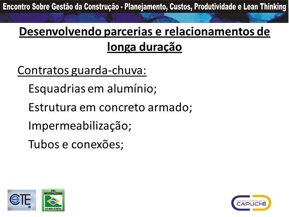 Desenvolvendo parcerias e relacionamentos de longa duração Contratos guarda-chuva: Esquadrias em alumínio; Estrutura em concreto armado; Impermeabilização; Tubos e conexões;