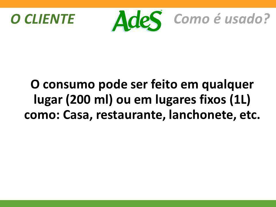 O CLIENTE Como é usado? O consumo pode ser feito em qualquer lugar (200 ml) ou em lugares fixos (1L) como: Casa, restaurante, lanchonete, etc.