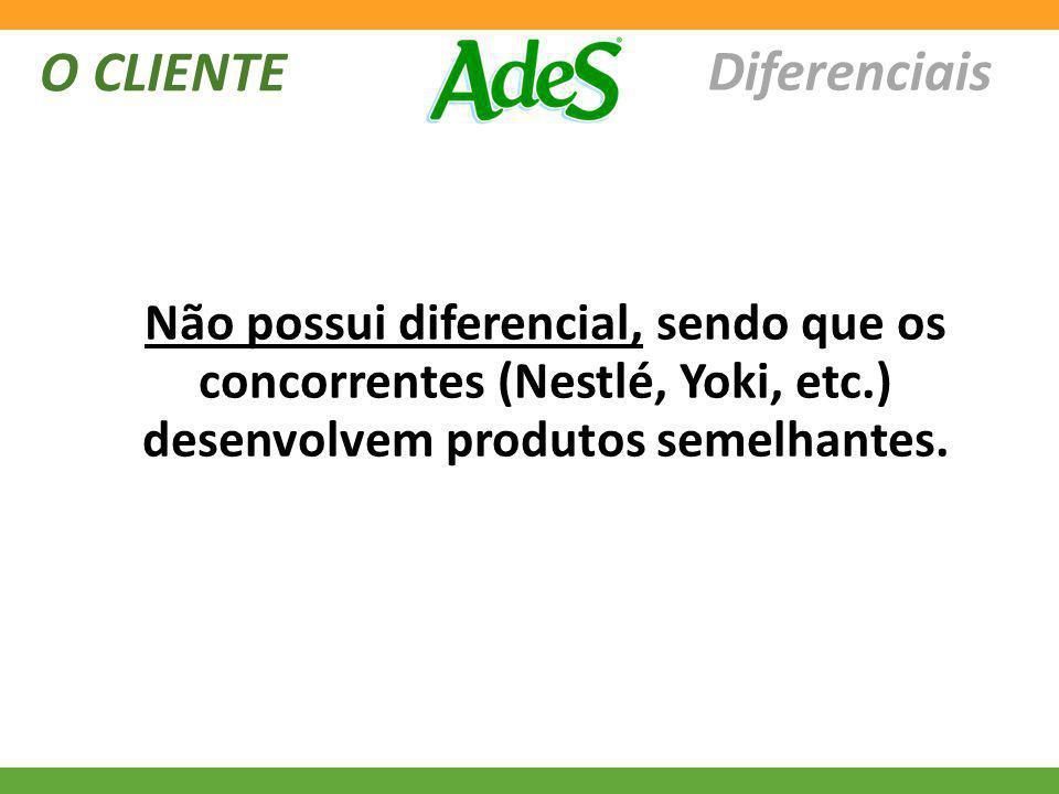O CLIENTE Diferenciais Não possui diferencial, sendo que os concorrentes (Nestlé, Yoki, etc.) desenvolvem produtos semelhantes.