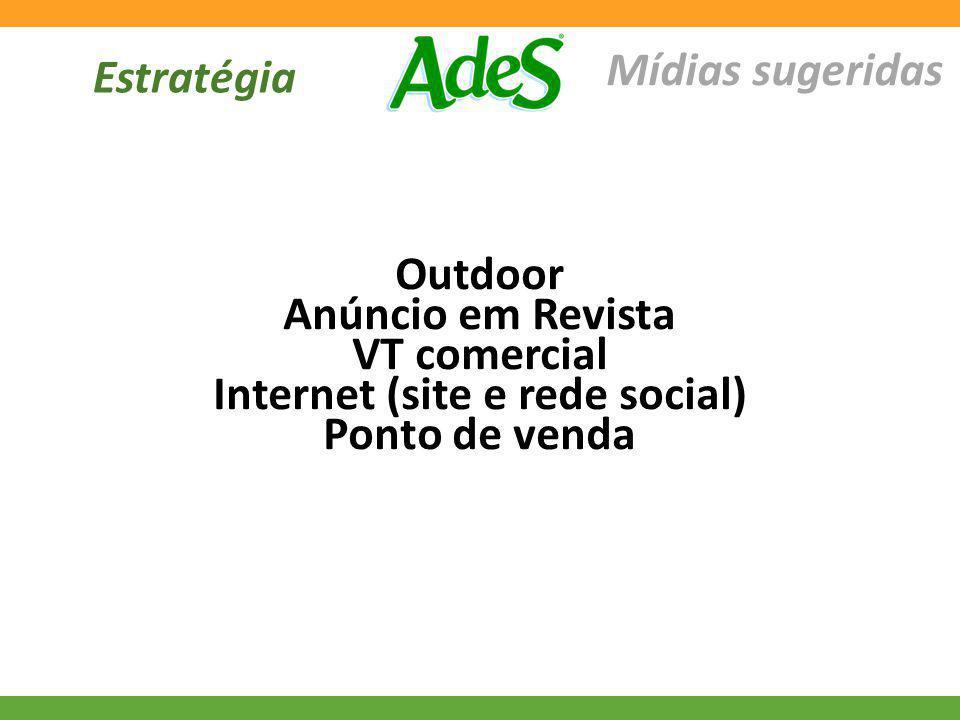 Estratégia Mídias sugeridas Outdoor Anúncio em Revista VT comercial Internet (site e rede social) Ponto de venda