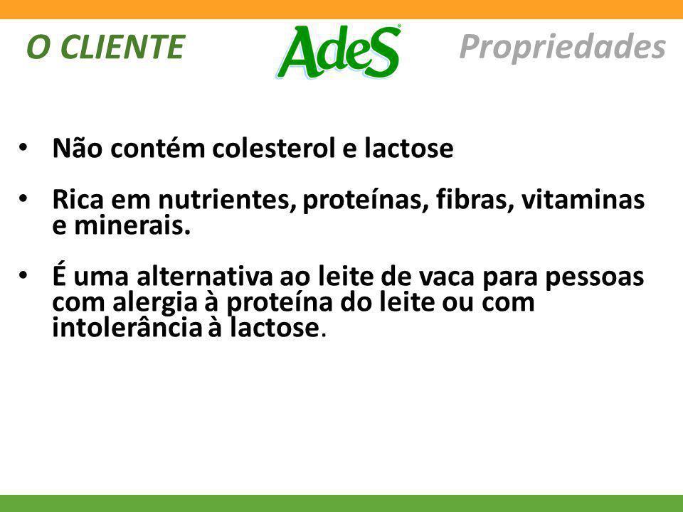 Propriedades O CLIENTE Não contém colesterol e lactose Rica em nutrientes, proteínas, fibras, vitaminas e minerais. É uma alternativa ao leite de vaca