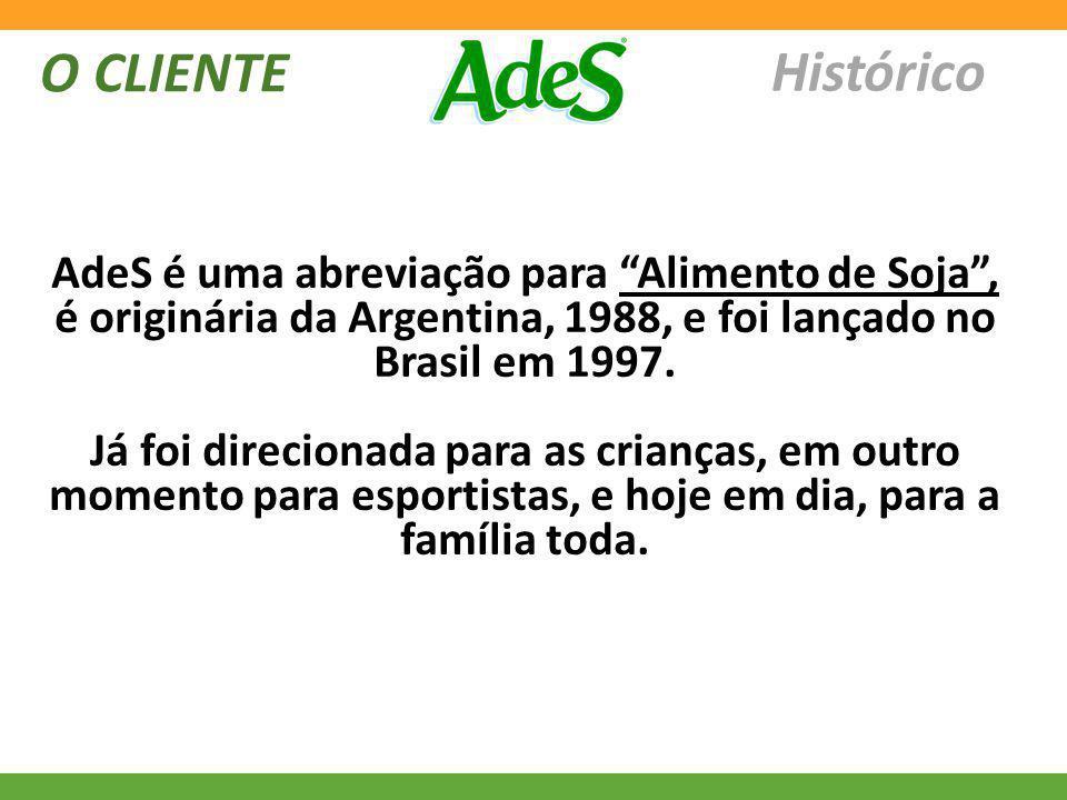 Histórico O CLIENTE AdeS é uma abreviação para Alimento de Soja, é originária da Argentina, 1988, e foi lançado no Brasil em 1997. Já foi direcionada