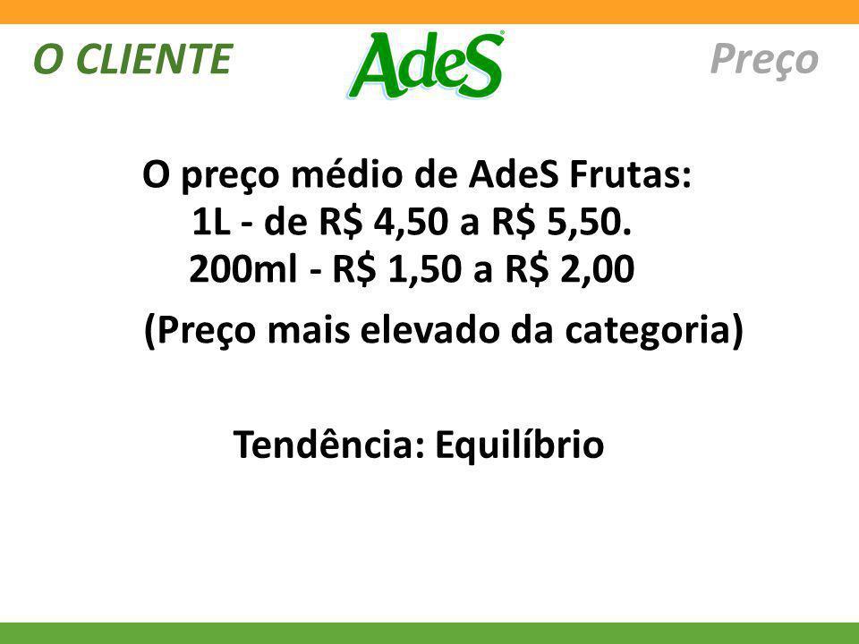 O CLIENTE Preço O preço médio de AdeS Frutas: 1L - de R$ 4,50 a R$ 5,50. 200ml - R$ 1,50 a R$ 2,00 Tendência: Equilíbrio (Preço mais elevado da catego