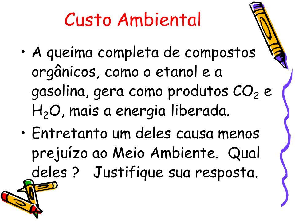 Custo Ambiental A queima completa de compostos orgânicos, como o etanol e a gasolina, gera como produtos CO 2 e H 2 O, mais a energia liberada. Entret