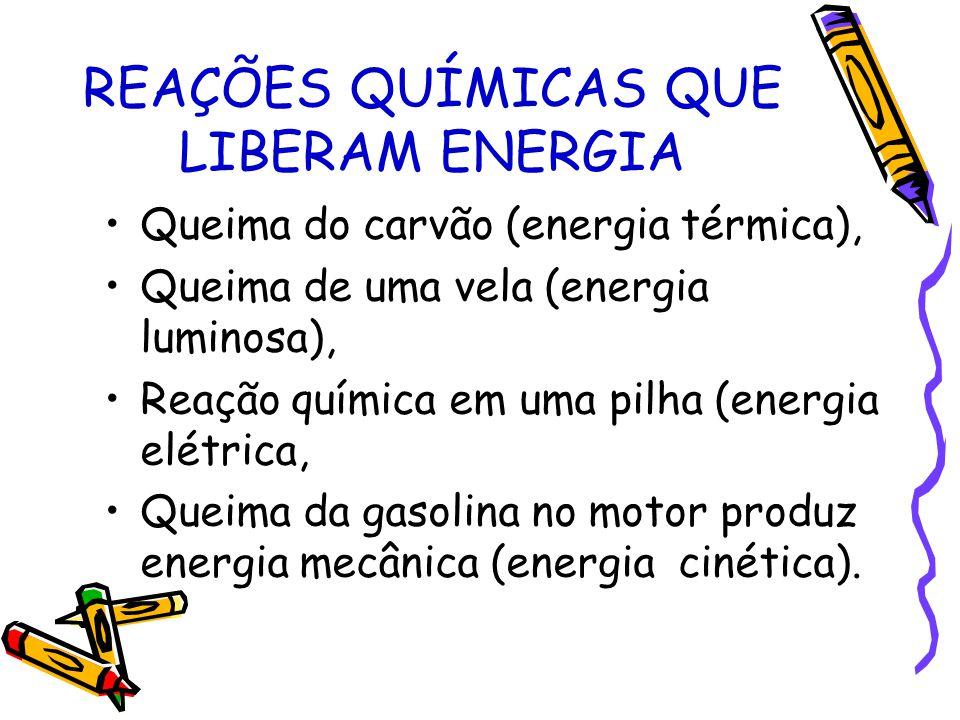 REAÇÕES QUÍMICAS QUE LIBERAM ENERGIA Queima do carvão (energia térmica), Queima de uma vela (energia luminosa), Reação química em uma pilha (energia e