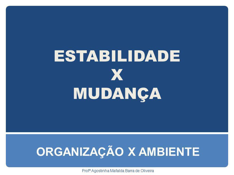 ESTABILIDADE X MUDANÇA ORGANIZAÇÃO X AMBIENTE Profª Agostinha Mafalda Barra de Oliveira