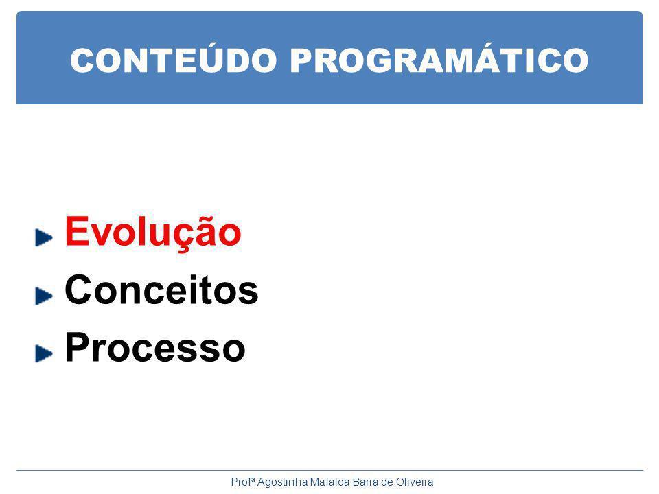 CONTEÚDO PROGRAMÁTICO Evolução Conceitos Processo Profª Agostinha Mafalda Barra de Oliveira