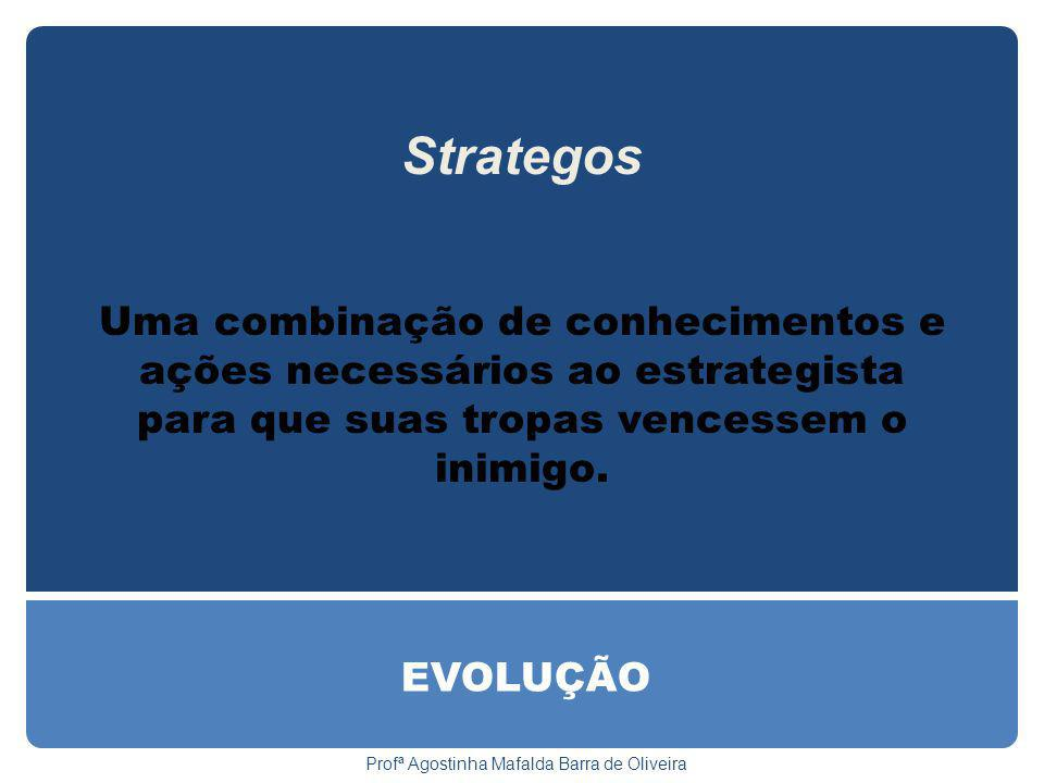 EVOLUÇÃO Profª Agostinha Mafalda Barra de Oliveira Strategos Uma combinação de conhecimentos e ações necessários ao estrategista para que suas tropas vencessem o inimigo.