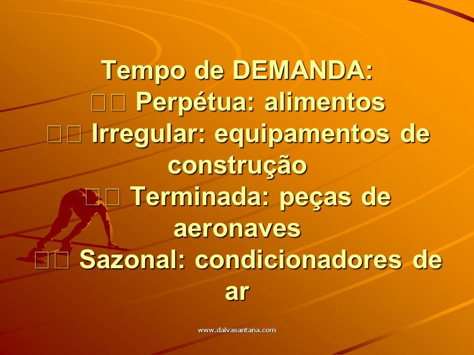 www.dalvasantana.com Tempo de DEMANDA: Perpétua: alimentos Irregular: equipamentos de construção Terminada: peças de aeronaves Sazonal: condicionadore