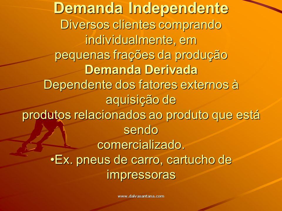 www.dalvasantana.com Demanda Independente Diversos clientes comprando individualmente, em pequenas frações da produção Demanda Derivada Dependente dos