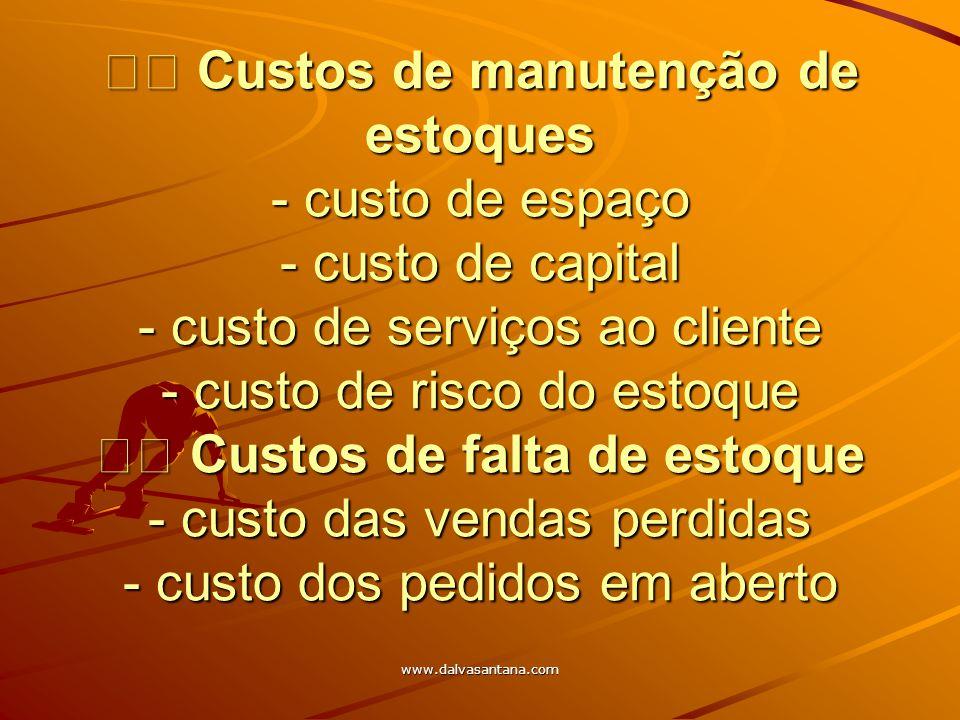 www.dalvasantana.com Custos de manutenção de estoques - custo de espaço - custo de capital - custo de serviços ao cliente - custo de risco do estoque