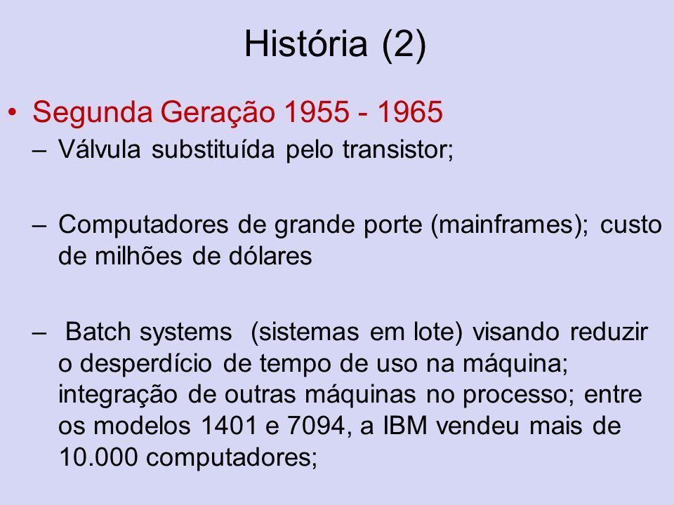 História (2) Segunda Geração 1955 - 1965 –Válvula substituída pelo transistor; –Computadores de grande porte (mainframes); custo de milhões de dólares