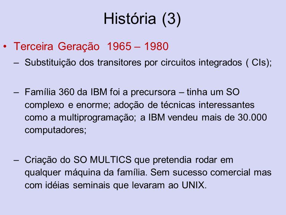 História (3) Terceira Geração 1965 – 1980 –Substituição dos transitores por circuitos integrados ( CIs); –Família 360 da IBM foi a precursora – tinha