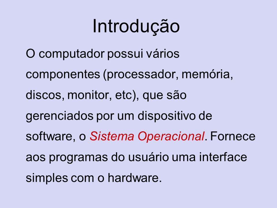 Introdução O computador possui vários componentes (processador, memória, discos, monitor, etc), que são gerenciados por um dispositivo de software, o
